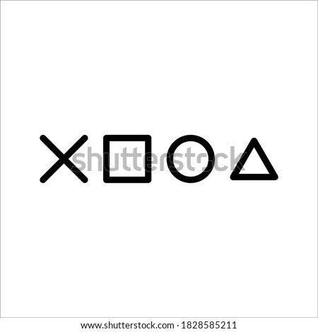 playstation glitch cross triangle square circle design game symbols icons on white background