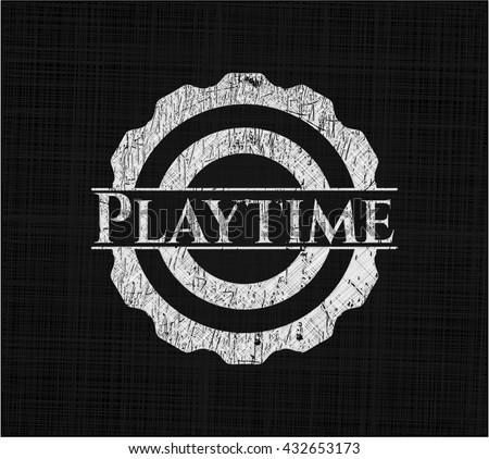 Playtime chalk emblem written on a blackboard