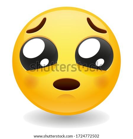 Pleading Emoji Kawaii Face. Loving gesture Vector Design Art Trendy Communication. Chat Elements furrowed eyebrows. Stockfoto ©