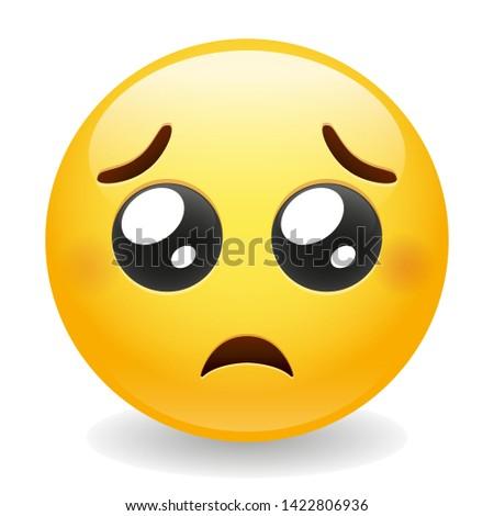Pleading Emoji Kawaii Face Vector Design Art Trendy Communication Chat Elements Stockfoto ©