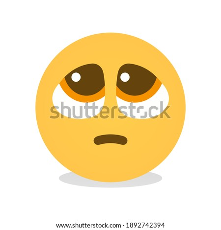 Pleading Face emoji isolated vector icon yellow face with furrowed eyebrows most popular emoji used on social media  Stockfoto ©