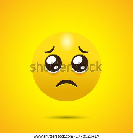 Pleading Face Emoji with Furrowed Eyebrows Stockfoto ©