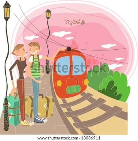 Pleasant Travel to Worldwide - standing with a cute young female and a funny male in the train station at the beautiful sunset on white background with a deep pink sky : vector illustration