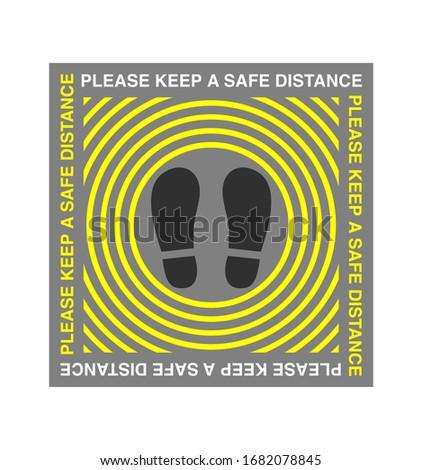 Please keep a safe distance. Social distancing, Social distance. Warning sign sticker reminding, footprint stickers. Caution message, Floor Stickers, Pedestrian Footprint Stencil sign in frame