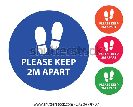 Please keep 2m apart, Coronavirus Social distancing signs of different colours, maintain social distancing vector labels