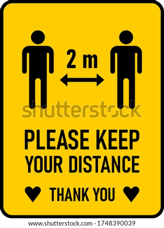 Please Keep Your Distance Thank You 2 m or 2 Metres Vertical Social Distancing Instruction Sign with an Aspect Ratio of 3:4 and Rounded Corners. Vector Image. Zdjęcia stock ©