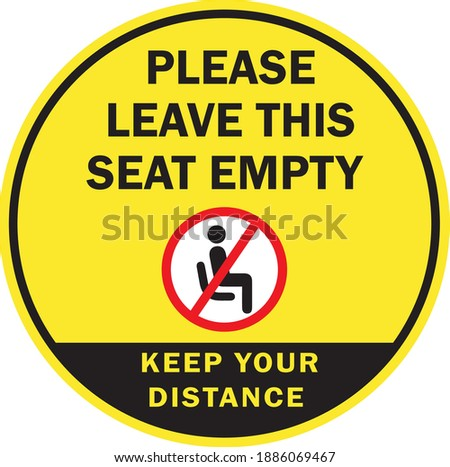 Please leave this seat empty or do not use this area sign for covid 19 pandemic situation ストックフォト ©