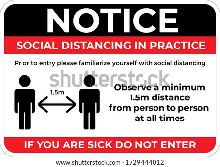 Please maintain social distancing sign board for display on a entrance, in vector format