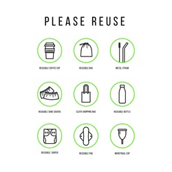 Please reuse icons set. Zero waste. Vector illustration in flat linear style