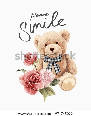 please smile calligraphy slogan with bear doll in bow tie with bouquet of flowers vector illustration
