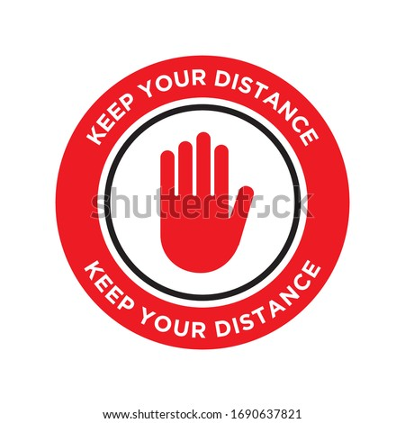 Please Wait Here. Keep Your Distance. Stop Wait Here Floor Sticker. Social Distancing Warning Sticker. Vector Text Illustration Background. Stock photo ©