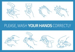 Please, wash your hands correctly. Informational poster. Vector illustration of Handwashing. Hands soaping and rinsing