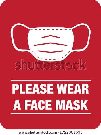 please wear a face mask instruction icon. vector illustration