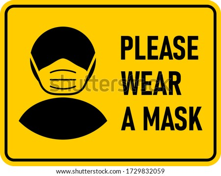 Please Wear a Face Mask Rectangular Instruction Icon with an Aspect Ratio of 4:3 and Rounded Edges. Vector Image.