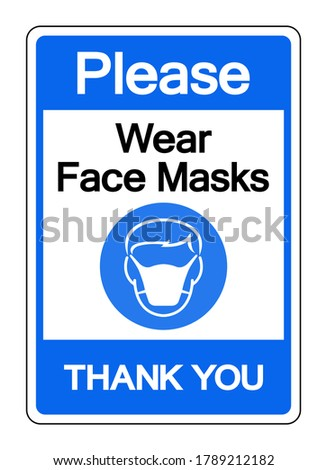 Please Wear Face Mark Thank You Symbol Sign,Vector Illustration, Isolated On White Background Label. EPS10 Stock photo ©