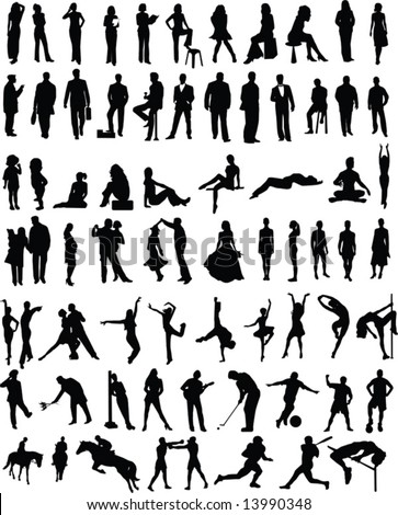 Plenty of different vector people silhouettes - stock vector