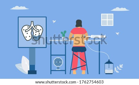 Pleural effusion is collection of excess fluid between layers of pleura outside lungs. Pulmonology vector illustration about restrictive lung disease. Photo stock ©