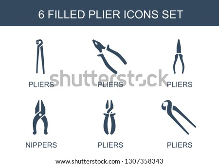 plier icons. Trendy 6 plier icons. Contain icons such as pliers, nippers. plier icon for web and mobile.