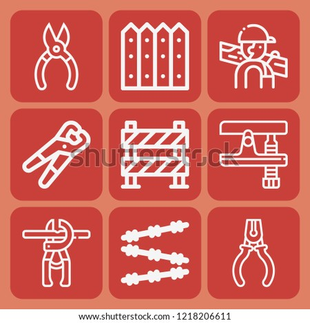 Plier, pliers, carpenter, barrier, fence icon set suitable for info graphics, websites and print media and interfaces
