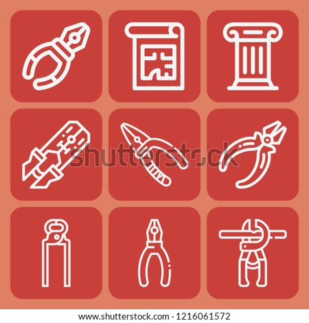 Plier, pliers, crimping pliers, column icon set suitable for info graphics, websites and print media and interfaces