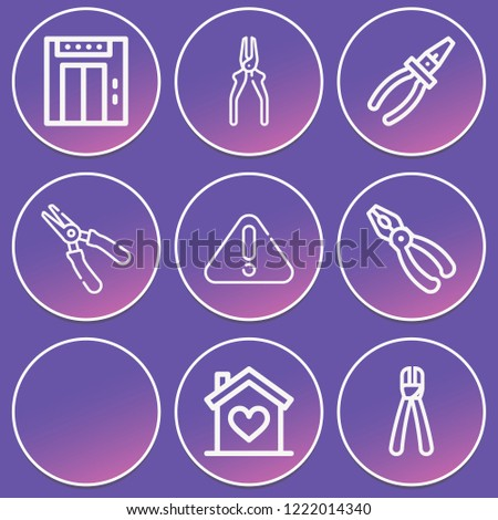 Plier, pliers, house, warning icon set suitable for info graphics, websites and print media and interfaces