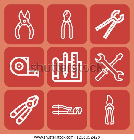 Plier, pliers, pincers, blueprint, measuring tape icon set suitable for info graphics, websites and print media and interfaces