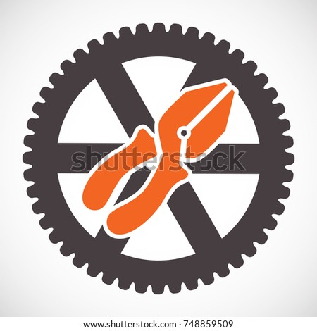 Pliers icon or service tools symbol isolated on white background. Options vector illustration. Settings sign with pliers and cog