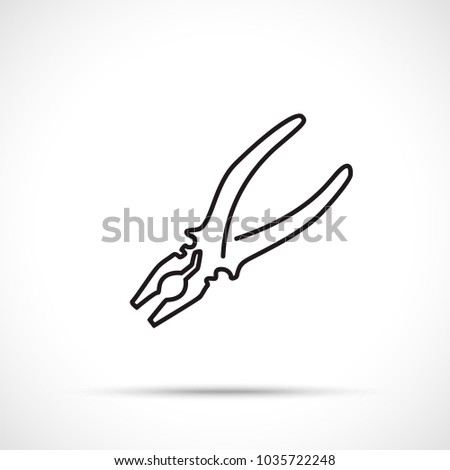 Pliers icon. Pliers icon isolated on white background. Working tool icon sign symbol. One line art style.