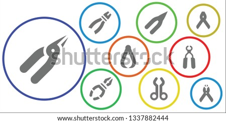 pliers icon set. 9 filled pliers icons.  Collection Of - Pliers, Tool