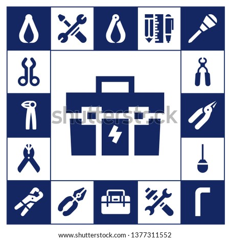 pliers icon set. 17 filled pliers icons.  Simple modern icons about  - Pliers, Tool, Toolbox, Awl, Tools, Allen keys