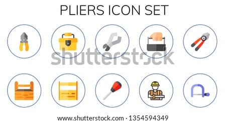 pliers icon set. 10 flat pliers icons.  Simple modern icons about  - toolbox, awl, carpenter, plier, hacksaw