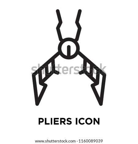 Pliers icon vector isolated on white background, Pliers transparent sign , line symbol or linear element design in outline style