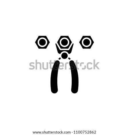 Pliers nuts black icon concept. Pliers nuts flat vector symbol, sign, illustration.