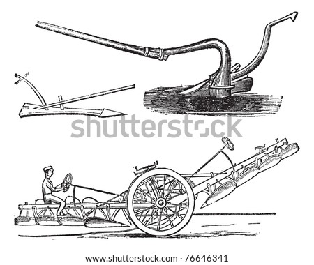 Plough, vintage engraving. Old engraved illustration of several types of Ploughs. Trousset encyclopedia.