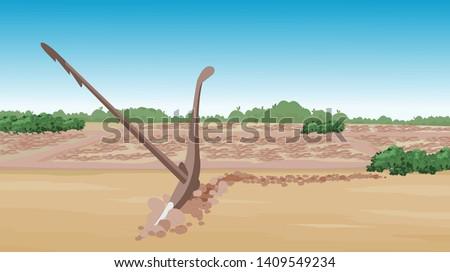 Plow Primitive Farming tools, asian agricultural land - vector