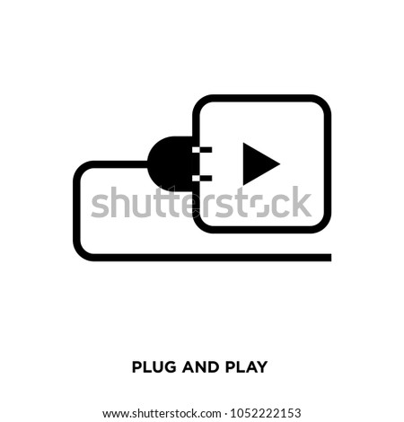 plug and play icon on white background, in black, vector icon illustration