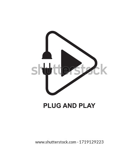 PLUG AND PLAY ICON , VIDEO ICON Foto stock ©