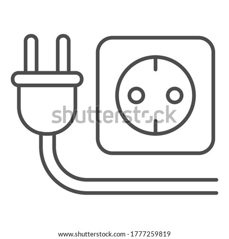 Plug and socket thin line icon, technology concept, electricity sign on white background, Electric plug with socket icon in outline style for mobile concept, web design. Vector graphics Photo stock ©
