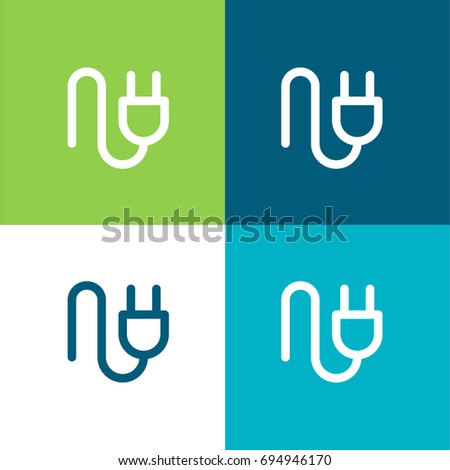 Plug green and blue material color minimal icon or logo design