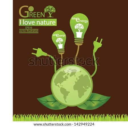 Plug. Green concepts save energy. save world. vector illustration.
