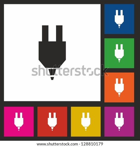 Plug, icon, vector, button - stock vector