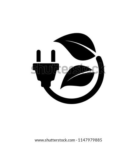 Plug Leaf, Energy Save. Flat Vector Icon illustration. Simple black symbol on white background. Plug Leaf, Energy Save sign design template for web and mobile UI element