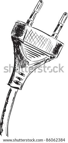 Plug sketch cartoon vector illustration - stock vector