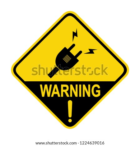 Plug warning sign. Symbol, vector