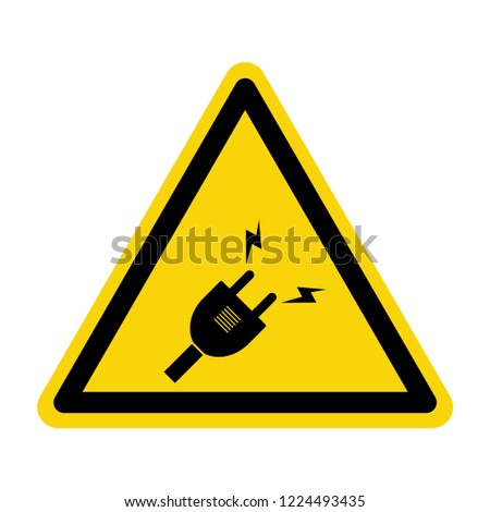 Plug warning sign. Symbol, vector, illustration