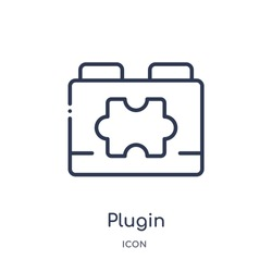 plugin icon from programming outline collection. Thin line plugin icon isolated on white background.