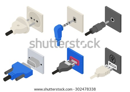 Plugs icons, isometric 3d vector. Power and electric, usb socket, connection cable, connect wire, connector vga. Vector illustration