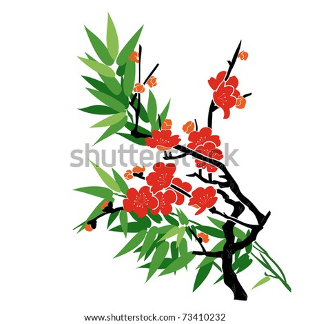 Plum Blossom and Bamboo - Chinese Painting Vector Background.