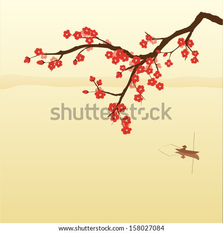plum blossom and fisherman in