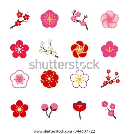 plum blossom icon set